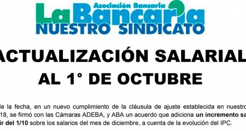 Bancarios lograron una actualización salarial al 1 de octubre