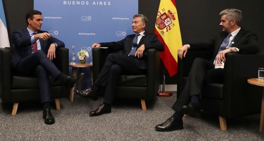 G20:Mauricio Macri se reunió con el presidente del gobierno español: apoyo al acuerdo Mercosur-UE y al River-Boca en Madrid