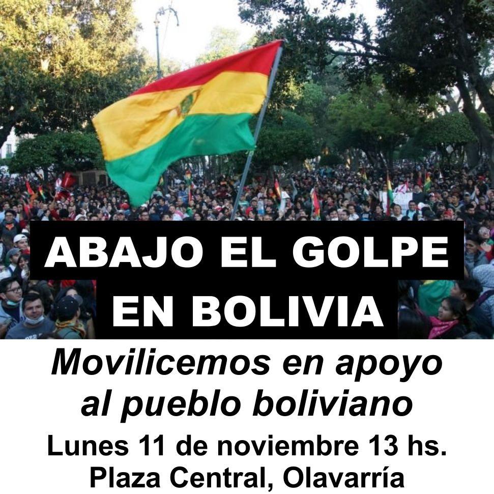Convocan a marchar contra el Golpe de Estado boliviano en Olavarría