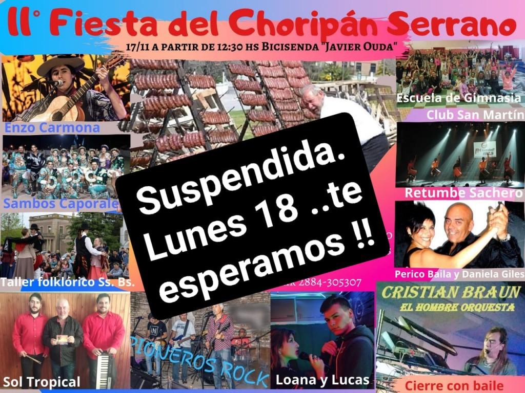 Posponen la Fiesta del Choripán Serrano hasta el lunes