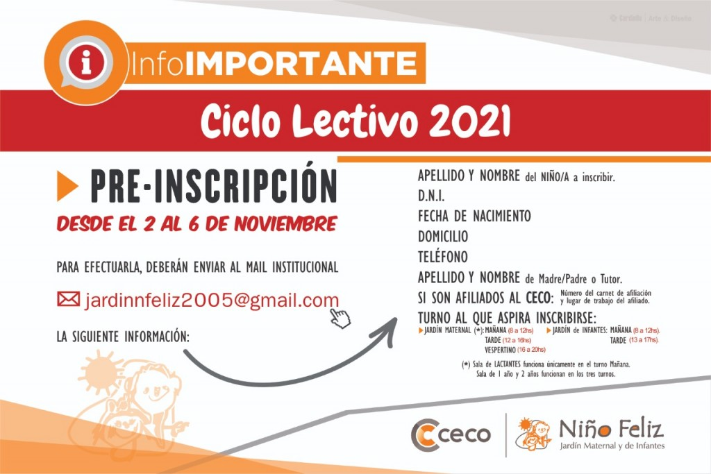 El CECO pre inscribe para al Jardín de Infantes Niño Feliz