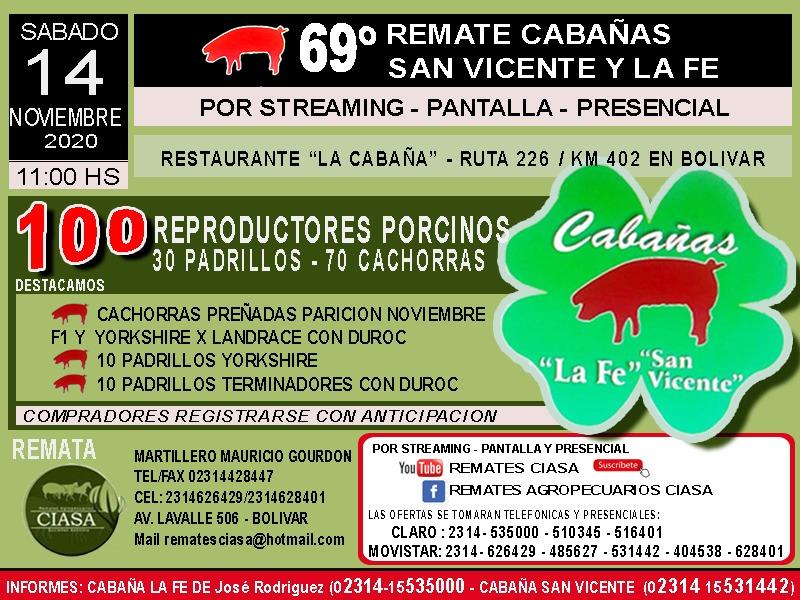 '69° Remate Cabañas San Vicente y La Fé será el sábado 14 de noviembre'