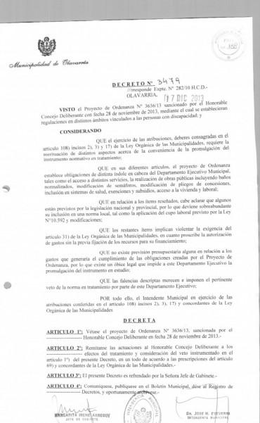 Desde el Frente Progresista Cívico y Social señalan que el Intendente  Eseverri vetó una ordenanza que beneficiaba a personas con discapacidad