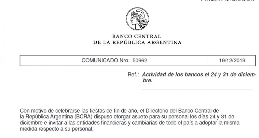 No habrá atención en bancos el 24 y el 31