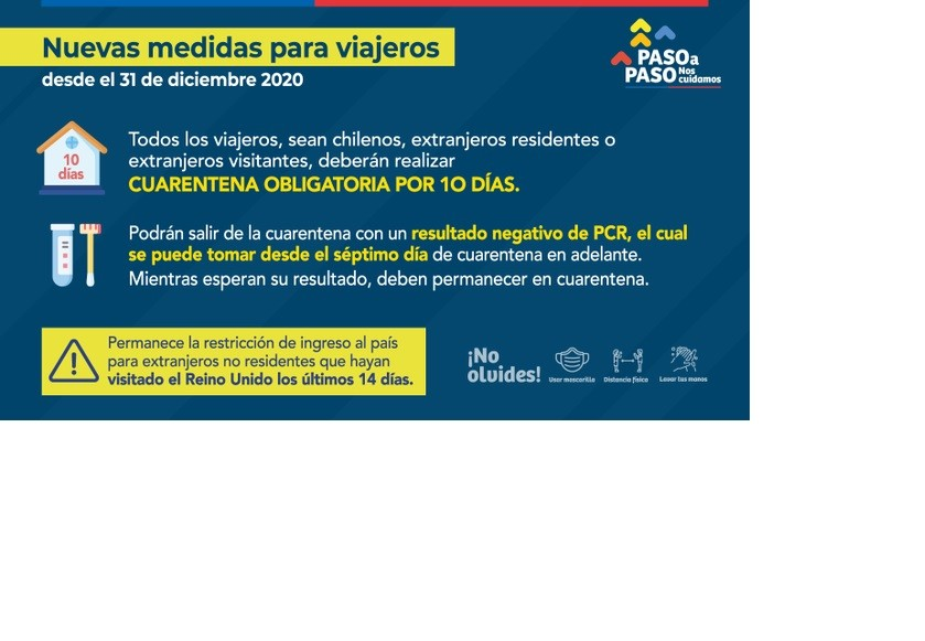 Chile endurece restricciones, tras reportar el primer caso de la nueva cepa británica