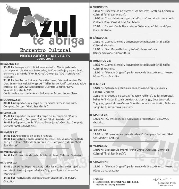 Azul:  continúan las  actividades de Azul Te Abriga 2012