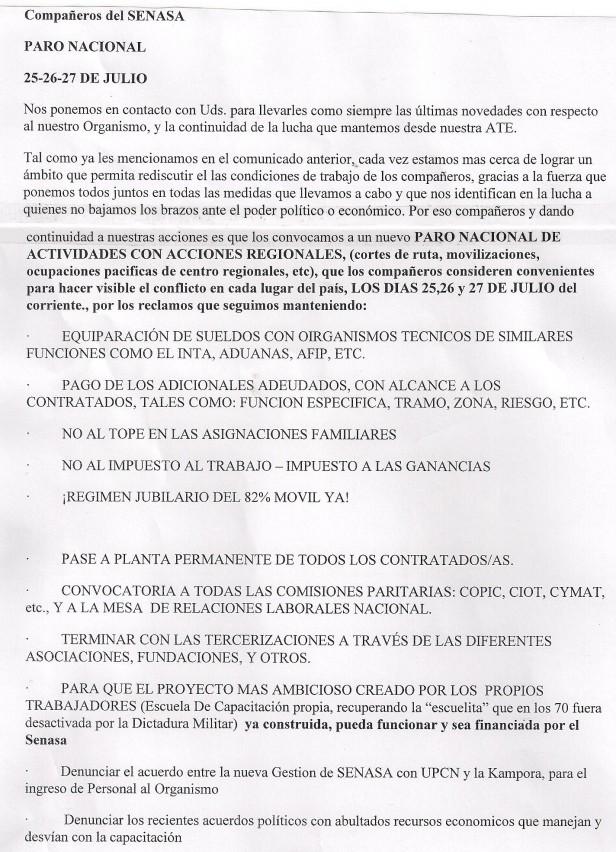 Según el Ministerio: levantan la medida de fuerza en el SENASA pero A.T.E. ratifica la convocatoria al paro nacional