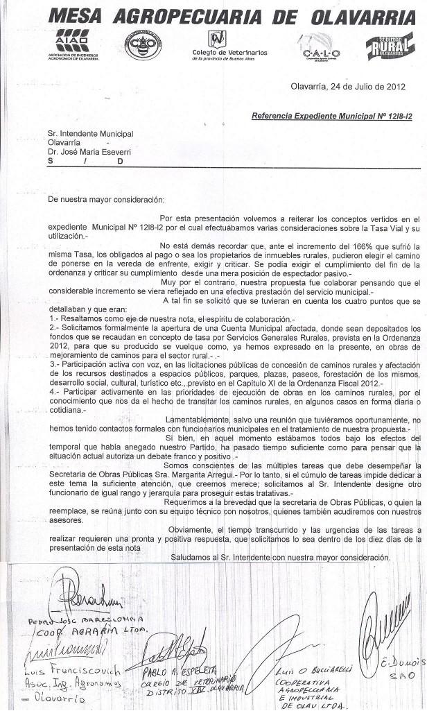 La Mesa Agropecuaria de Olavarría le pidió debate y reuniones a Eseverri para resolver la problemática de los caminos