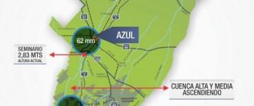 Azul: continúa el ascenso del arroyo y sus tributarios, en la cuenca alta y media.