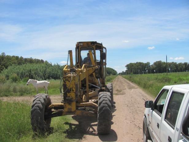Azul: la Delegación de Cacharí trabaja en la reparación en caminos rurales