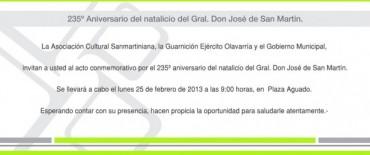 Acto oficial por el 235º aniversario del natalicio del Gral. Don José de San Martín