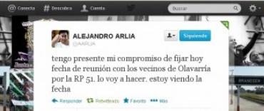 Nuevo tweet del Ministro Arlía para los vecinos de Loma Negra