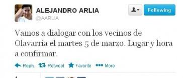 A través de su cuenta de Twitter Arlía les prometió a los vecinos de Loma Negra dialogar el 5 de Marzo