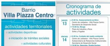 """Azul: El Gobierno Municipal realizará las """"Actividades Territoriales"""" en Villa Piazza Centro"""