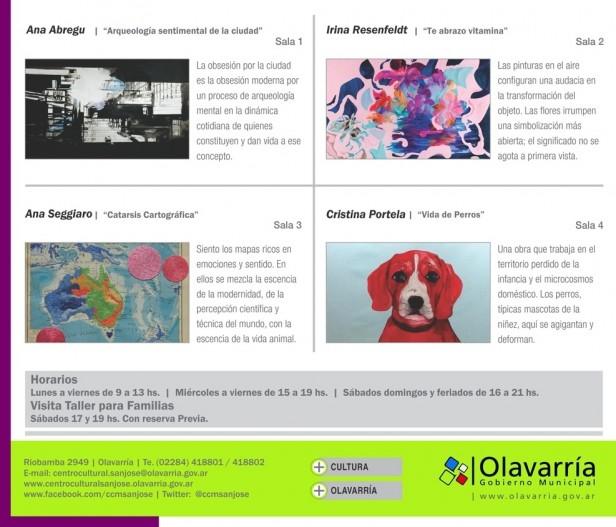 Muestra colectiva de las artistas Abregú, Rosenfeldt, Seggiaro, y Portela en Centro Cultural Municipal