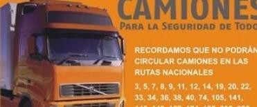 Restricción para la circulación de camiones en rutas nacionales